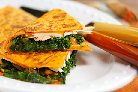 Turkey, kale and cheese quesadillas, a great way to use leftovers.