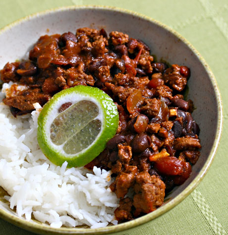 Turkey mole chili with black beans, to spice up game day, from The Perfect Pantry.