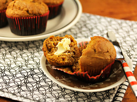 Squash walnut wheat muffins add a bit of sweetness to the Thanksgiving table.