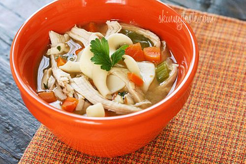 Leftover turkey noodle soup, from Skinnytaste (on Soup Chick).