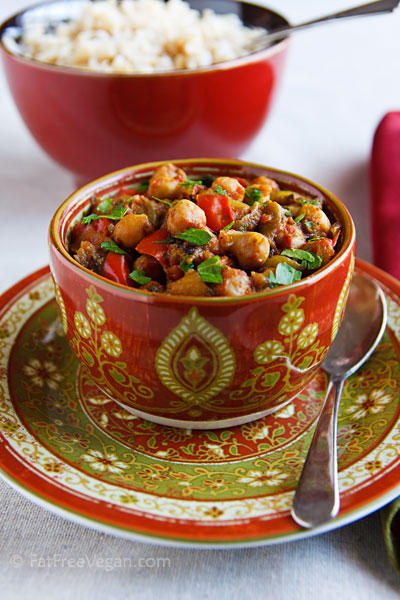 Eggplant and chickpea curry for Meatless Monday, from FatFree Vegan Kitchen (on Soup Chick).