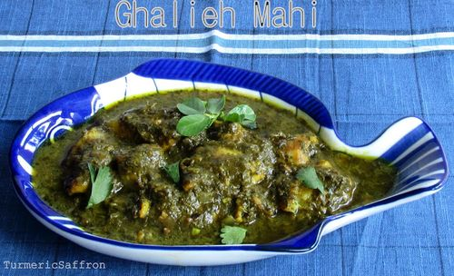 Ghalieh mahi, a southern Iranian spicy fish and herb stew, from Turmeric and Saffron.