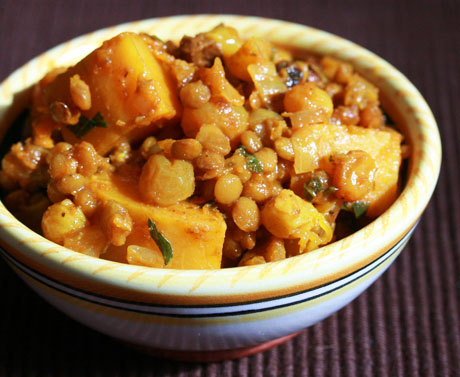 Sweet potato, lentil and raisin stew, from The Perfect Pantry (on Soup Chick).