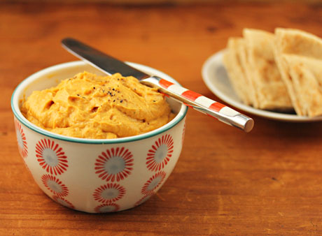 "Pumpkin ""hummus"" with peanutty good flavor."