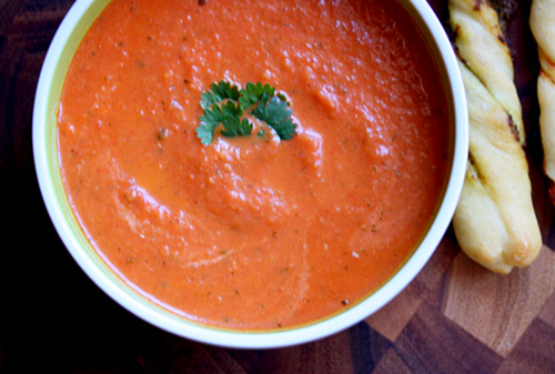 Classic roasted tomato soup, from Soup Addict (on Soup Chick).
