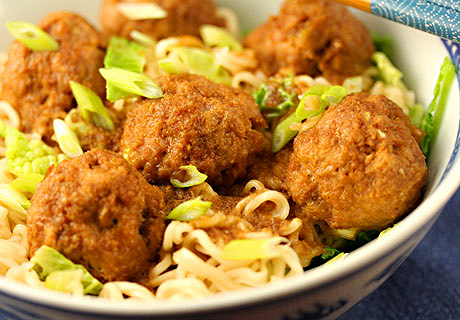 Teriyaki turkey meatballs with cabbage and ramen noodles, on The Perfect Pantry.