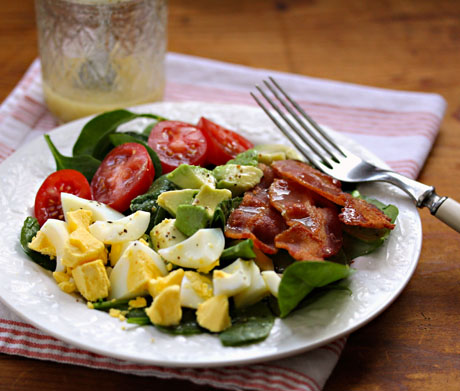 This spinach salad makes a perfect main dish for lunch or light supper.