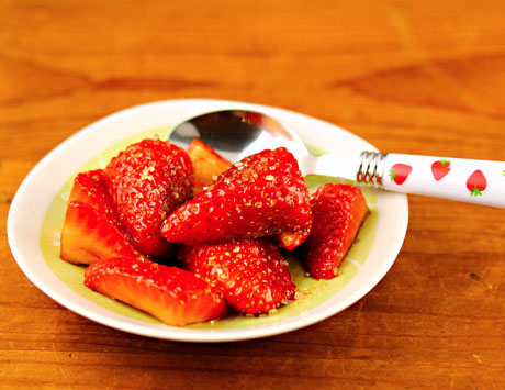 Strawberries in balsamic vinegar, the most romantic dessert I know.