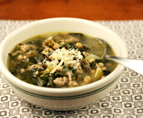 Turkey soup with dark leafy greens.