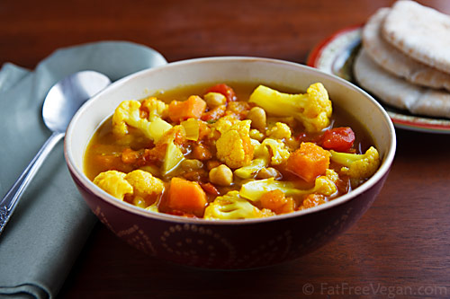 Curried cauliflower and sweet potato soup, from FatFree Vegan Kitchen (on Soup Chick).