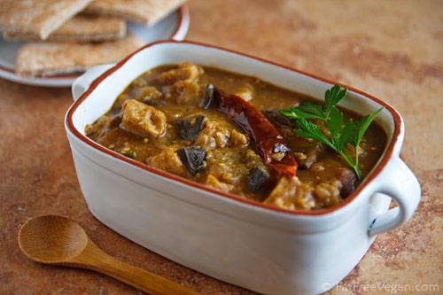 Iraqi-inspired seitan and eggplant stew, for Meatless Monday, from FatFree Vegan Kitchen (on Soup Chick).