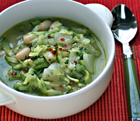 Zucchini, white bean and pesto soup, on Soup Chick.
