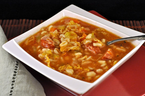 Sausage, cabbage and barley soup, from Thyme for Cooking (on Soup Chick).