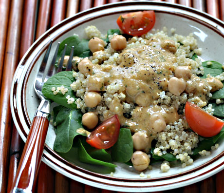 Chickpea, quinoa and spinach salad with preserved lemon vinaigrette