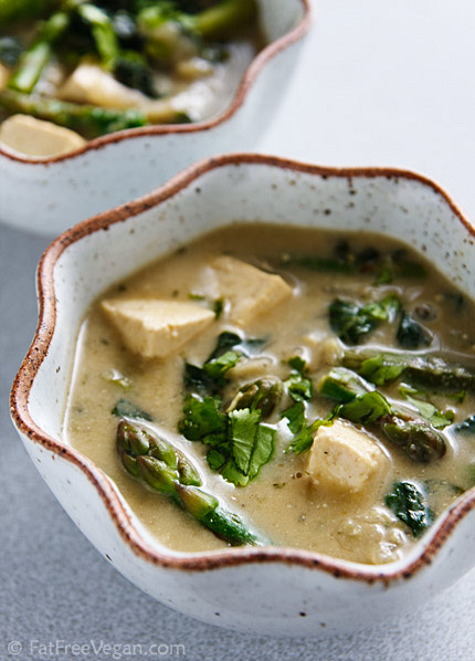 Thai green curry with vegetables and tofu, from FatFree Vegan Kitchen (on Soup Chick).