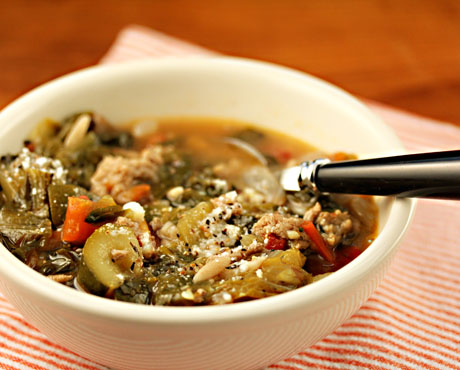 Turkey escarole soup, from The Perfect Pantry.