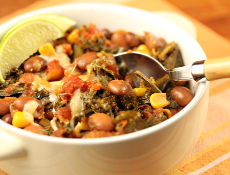 Spicy pinto bean chili with corn and kale, for Meatless Monday.