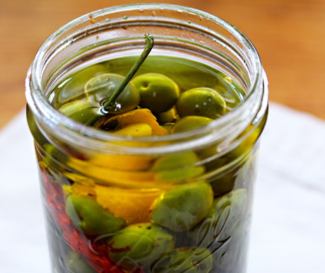 Marinated olives, a great make-ahead appetizer for holiday entertaining.
