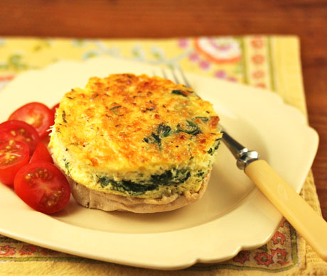 Egg, spinach and two cheeses: a nutritious way to start the day, or a quick and easy dinner.