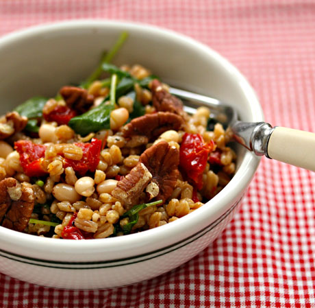 Farro and kale salad, on The Perfect Pantry.