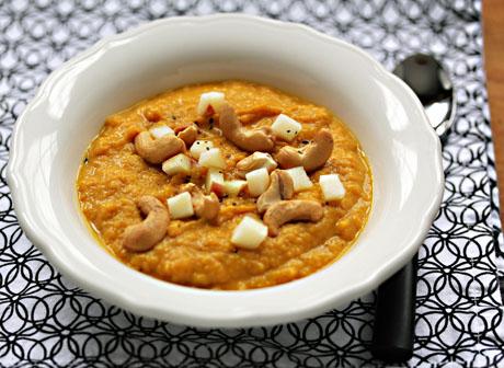 Creamy Indian-spiced vegan sweet potato soup, a hearty Meatless Monday entree (gluten-free).