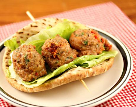 BLT turkey meatballs, stuffed in a sandwich or served as an appetizer.
