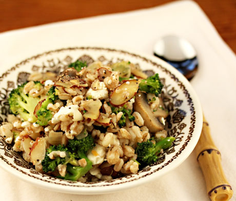 Farro-with-mushrooms-broccoli-almonds-feta