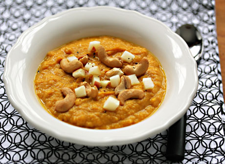 Creamy Indian-spiced sweet potato soup, vegan and gluten-free, from The Perfect Pantry.