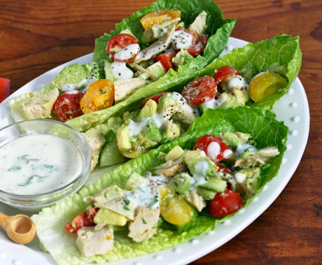 Chicken and avocado lettuce boats with buttermilk Dijon dressing, on The Perfect Pantry.
