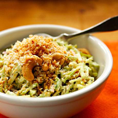 Curried broccoli slaw salad, with crunch coconut and cashew topping.
