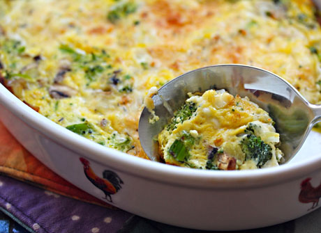 Broccoli, mushroom, egg and cheese casserole (The Perfect Pantry).