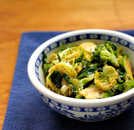 Roasted Brussels and broccoli with a maple mustard vinaigrette. Irresistible.