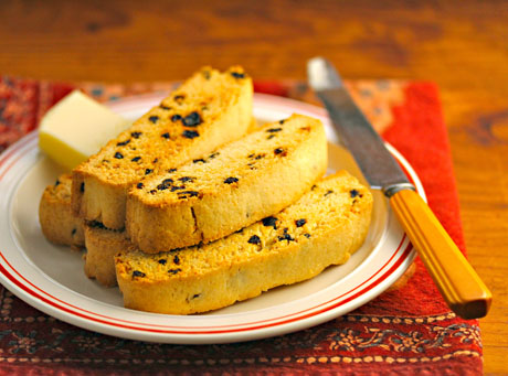 Lemon currant biscotti, crispy Italian cookies perfect for afternoon tea.