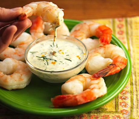Shrimp appetizer with Meyer lemon dill dipping sauce.