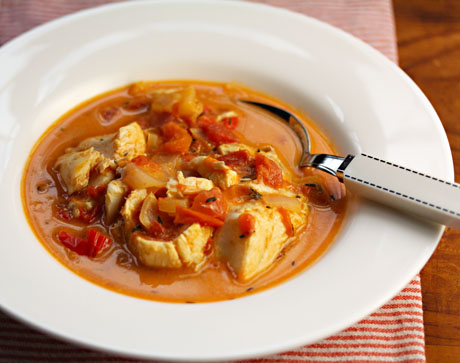 ... down (fish stew with tomato, peppers and coconut milk) {gluten-free