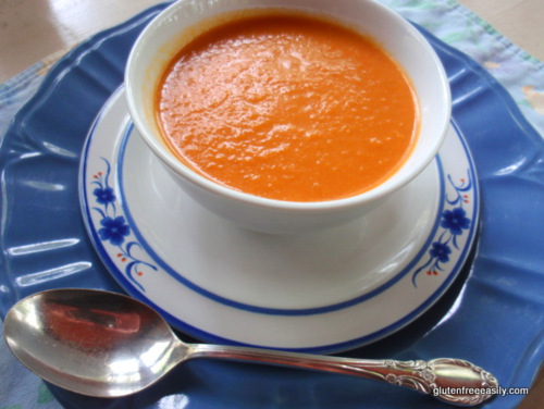 Roasted veggie soup, from Gluten-Free Easily (on Soup Chick).