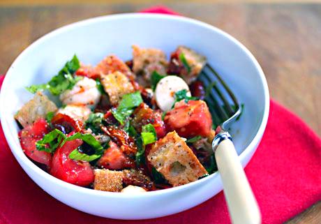 Two-tomato bread salad (panzanella).