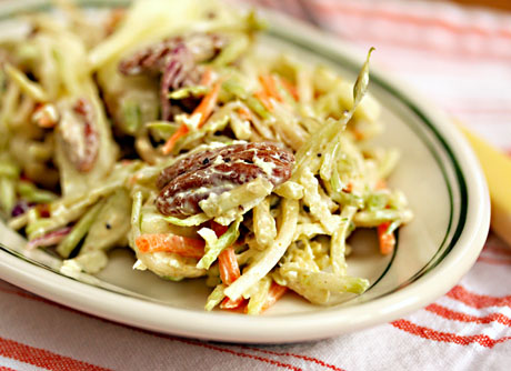 Curried apple and pecan broccoli slaw, a delicious side dish with roast turkey or chicken.