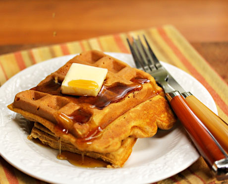 Pumpkin banana waffles bring out the best in Fall, from The Perfect Pantry.