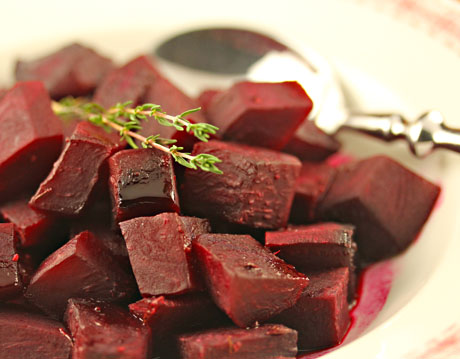 Honey-roasted beets with orange and thyme.