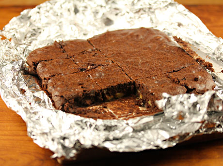 Bet you can't eat just one of these whole wheat walnut cocoa brownies.
