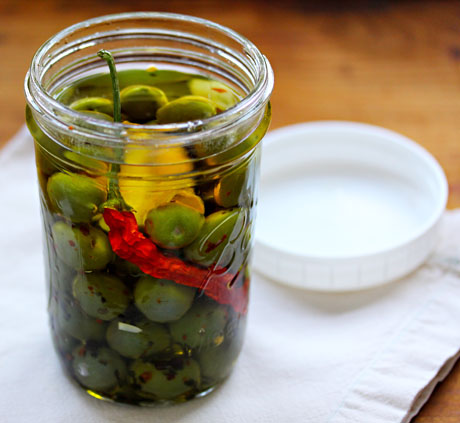 Marinated olives with garlic, pepper, orange and hint of mint.
