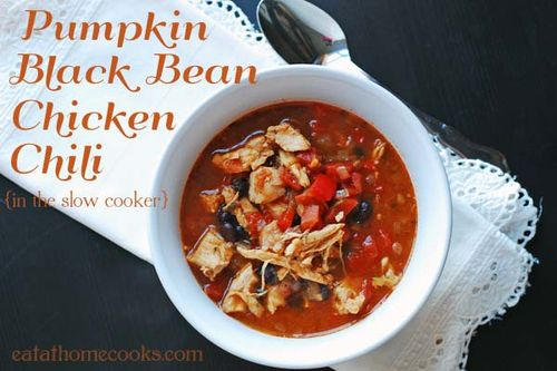 Pumpkin black bean chicken chili, easy in the slow cooker, from Eat at Home (on Soup Chick).