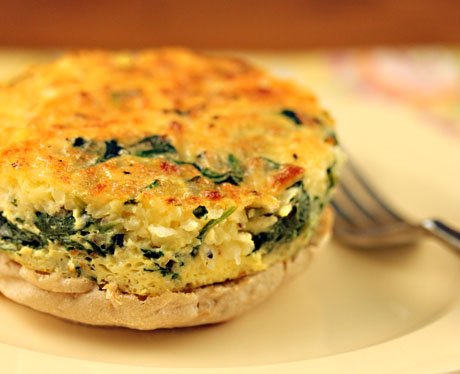 Egg, spinach and two cheese crustless quiche, on The Perfect Pantry.