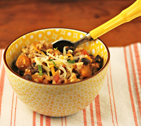 Slow cooker turkey, black bean and squash chili, from The Perfect Pantry.