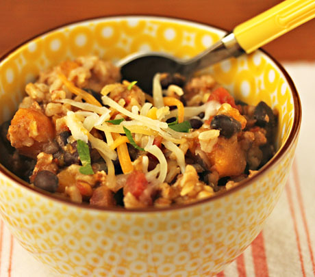 Make this turkey, squash and black bean chili in the slow cooker. So easy!