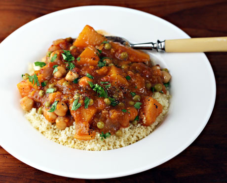 Vegan butternut squash and chickpea stew, a main dish everyone will love.