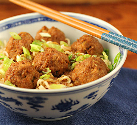 Teriyaki turkey meatballs with cabbage and ramen noodles: not the ramen of your college days!