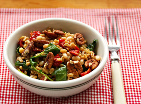Farro and kale salad, hearty enough to be a Meatless Monday main dish.