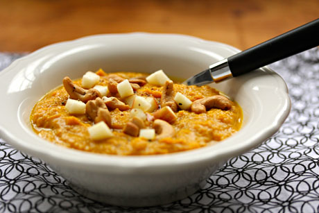Creamy Indian-spiced vegan sweet potato soup, from The Perfect Pantry.
